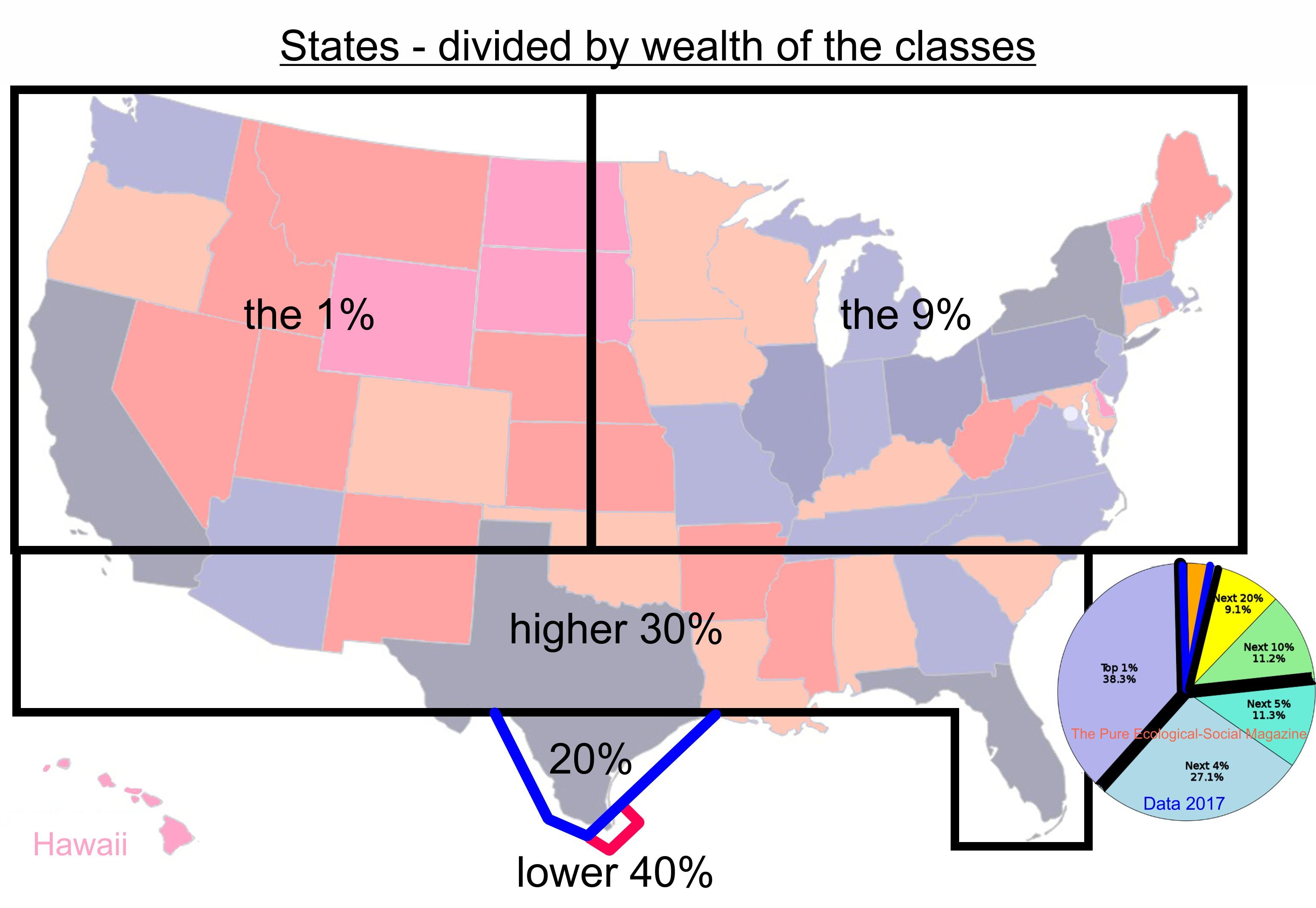 USA Staaten wortwörtlich aufgeteilt nach Vermögen